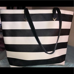 Stella and Dot black and white striped tote